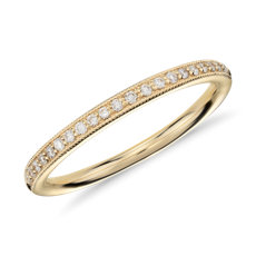 Riviera Pavé Heirloom Diamond Ring in 18k Yellow Gold (1/8 ct. tw.)