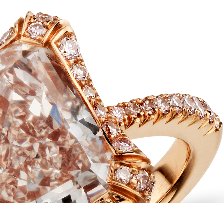 Heirloom Fancy Pink Radiant Cut Micropavé Halo Diamond Ring in 18k Rose Gold (5.99 ct tw)