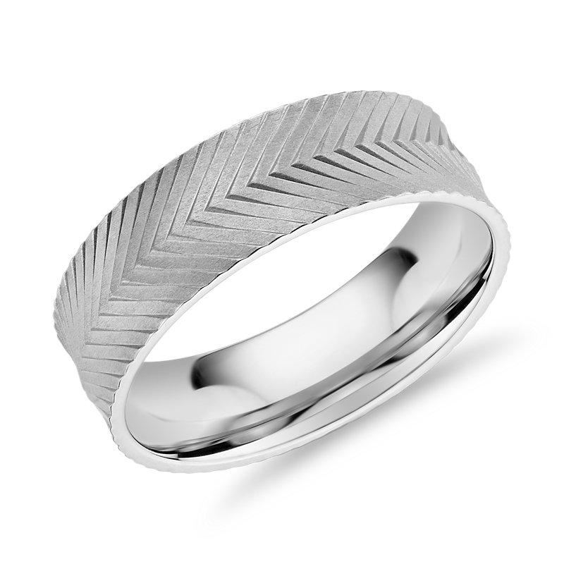 Herringbone Engraved Wedding Band in 14k White Gold (7mm)