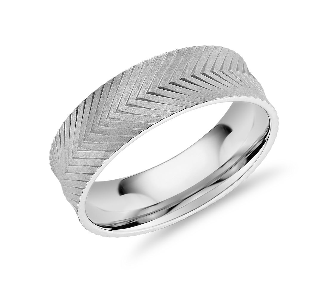 Herringbone Engraved Wedding Band in 14k White Gold (7mm)