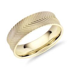 14k 金人字刻纹结婚戒指(7毫米)