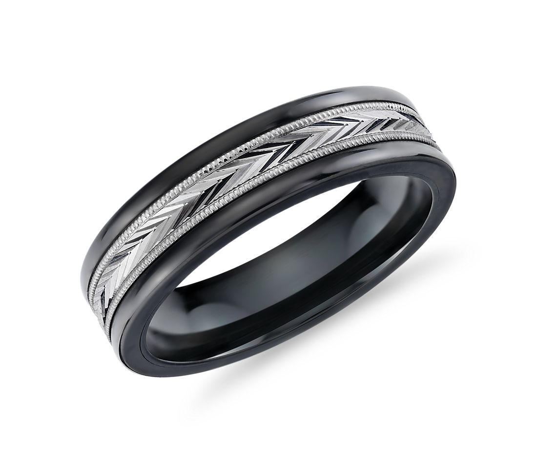 Herringbone Milgrain Inlay Wedding Band in Tungsten and 14k White Gold (6mm)