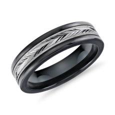 人字纹锯状滚边嵌条结婚戒指,钨及14k 白金 (6毫米)