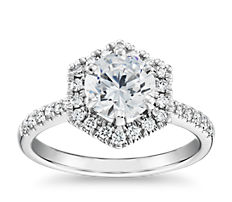 14k 白金六边形钻石光环订婚戒指