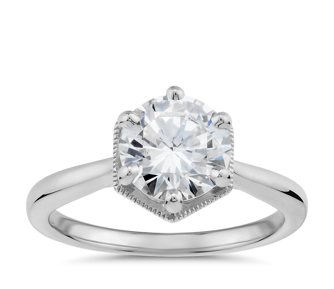 Hexagon Halo Solitaire Diamond Engagement Ring In 14k