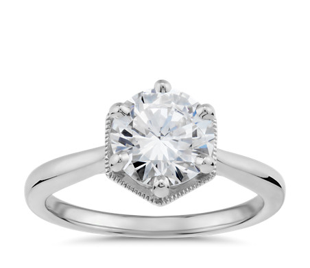 Hexagon Halo Solitaire Diamond Engagement Ring  in 14k White Gold