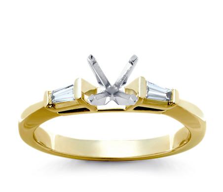14k 白金 六邊形光環單鑽訂婚戒指