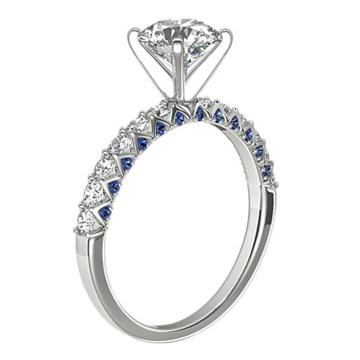Hidden Sapphire and Diamond Engagement Ring