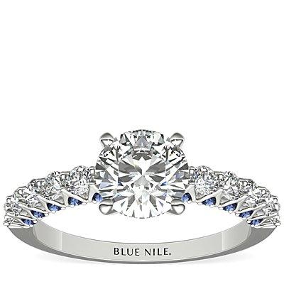 14k 白金隐藏式蓝宝石与钻石订婚戒指<br>(1/2 克拉总重量)