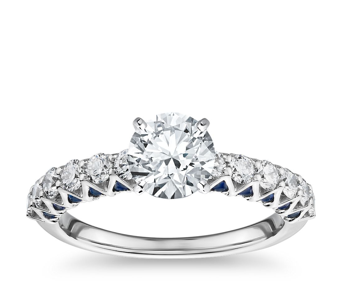 Hidden Sapphire and Diamond Engagement Ring in 14k White Gold (1/2 ct. tw.)