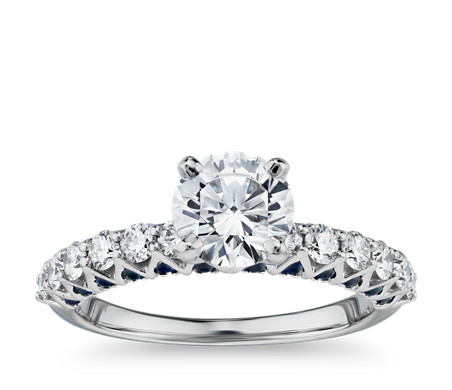 Hidden Sapphire and Diamond Engagement Ring in Platinum (1/2 ct. tw.)