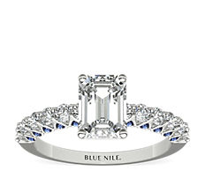 Hidden Sapphire and Diamond Engagement Ring in 14k White Gold