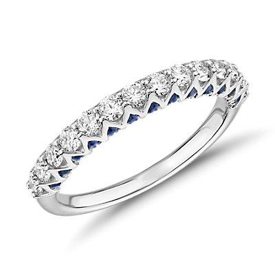 14k 白金隱藏式側鑲藍寶石鑽石戒指(1/2 克拉總重量)