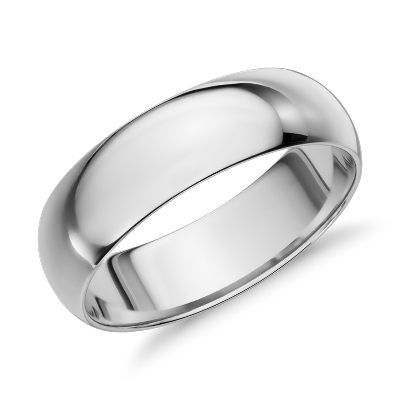 Midweight Comfort Fit Wedding Band in 14k White Gold 6mm Blue