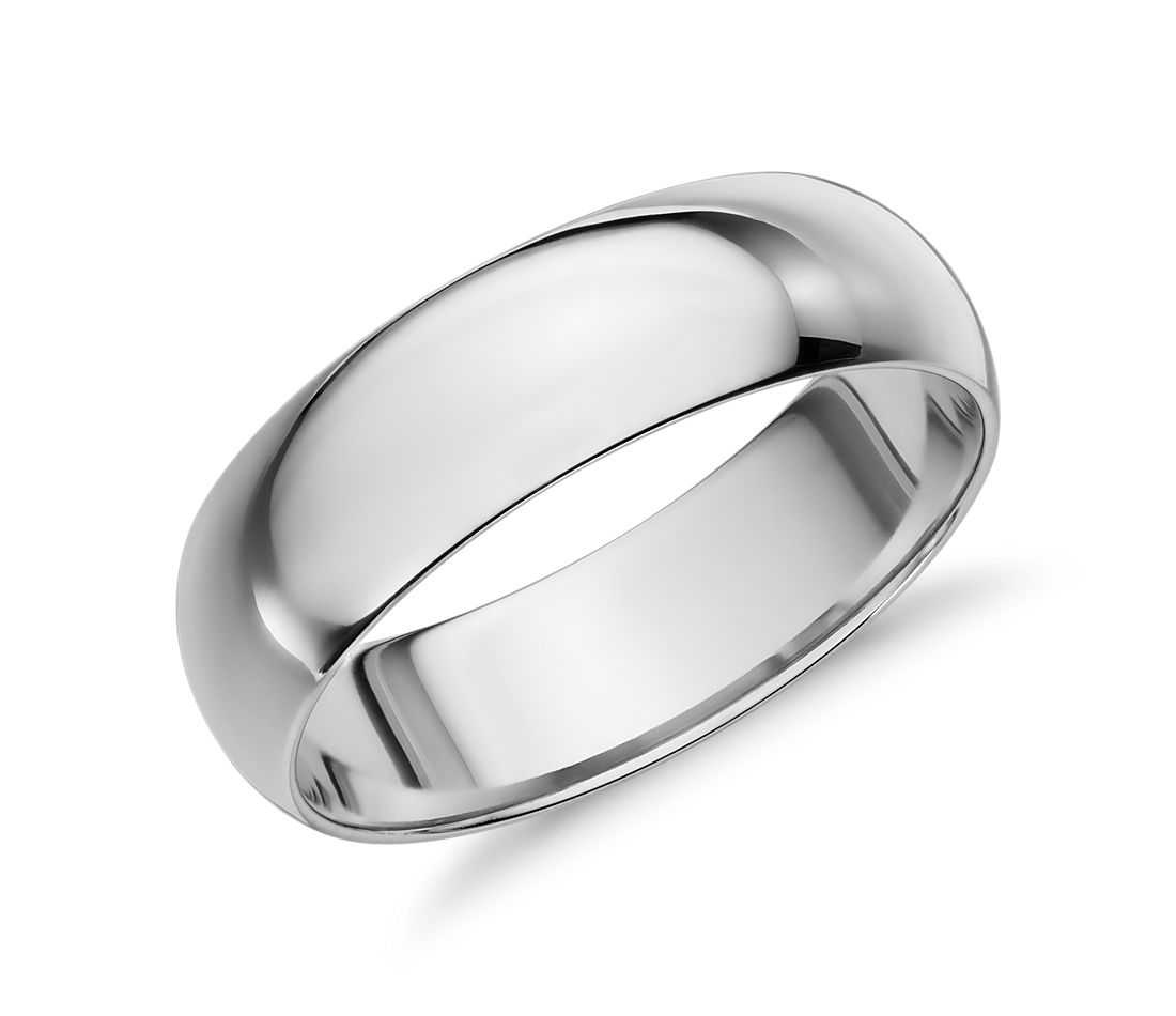 Mid Weight Comfort Fit Wedding Band In 14k White Gold 6mm