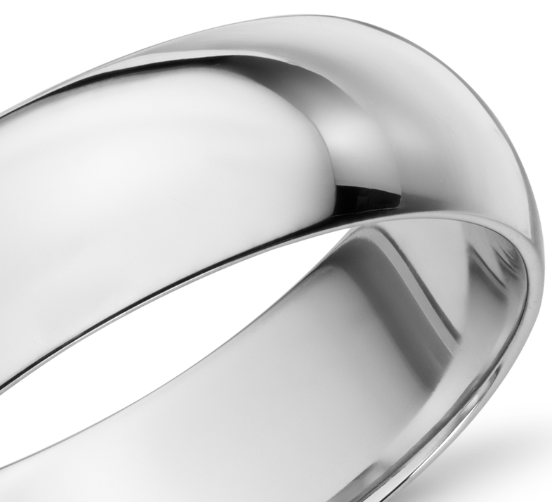 Mid-weight Comfort Fit Wedding Band in 14k White Gold (6mm)