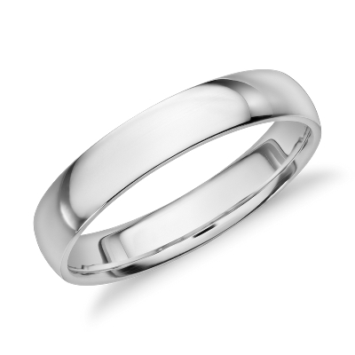 Midweight Comfort Fit Wedding Band in 14k White Gold 4mm Blue