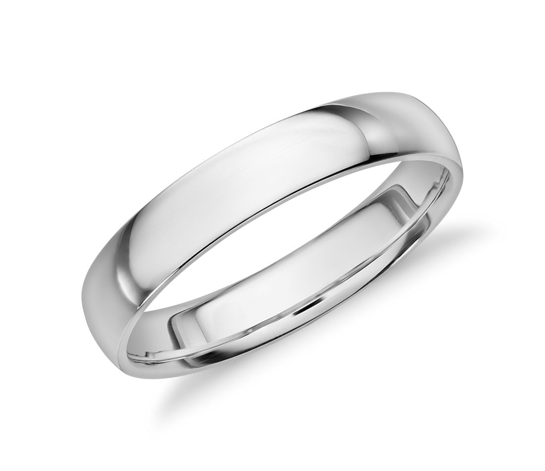 White Gold Bands: Mid-weight Comfort Fit Wedding Band In 14k White Gold (4mm