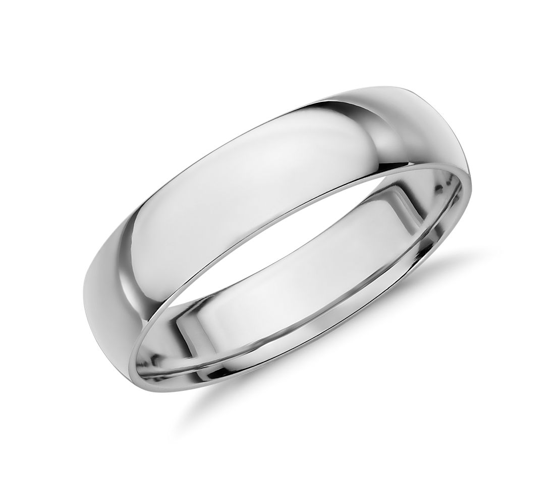 White Gold Bands: Mid-weight Comfort Fit Wedding Band In 14k White Gold (5mm