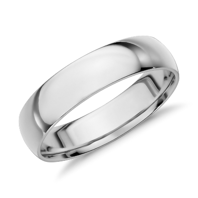 Mid weight Comfort Fit Wedding Band in 14k White Gold 6mm Blue