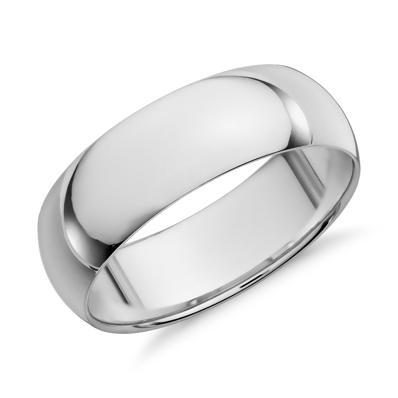 Mid-weight Comfort Fit Wedding Band in 14k White Gold (7mm)