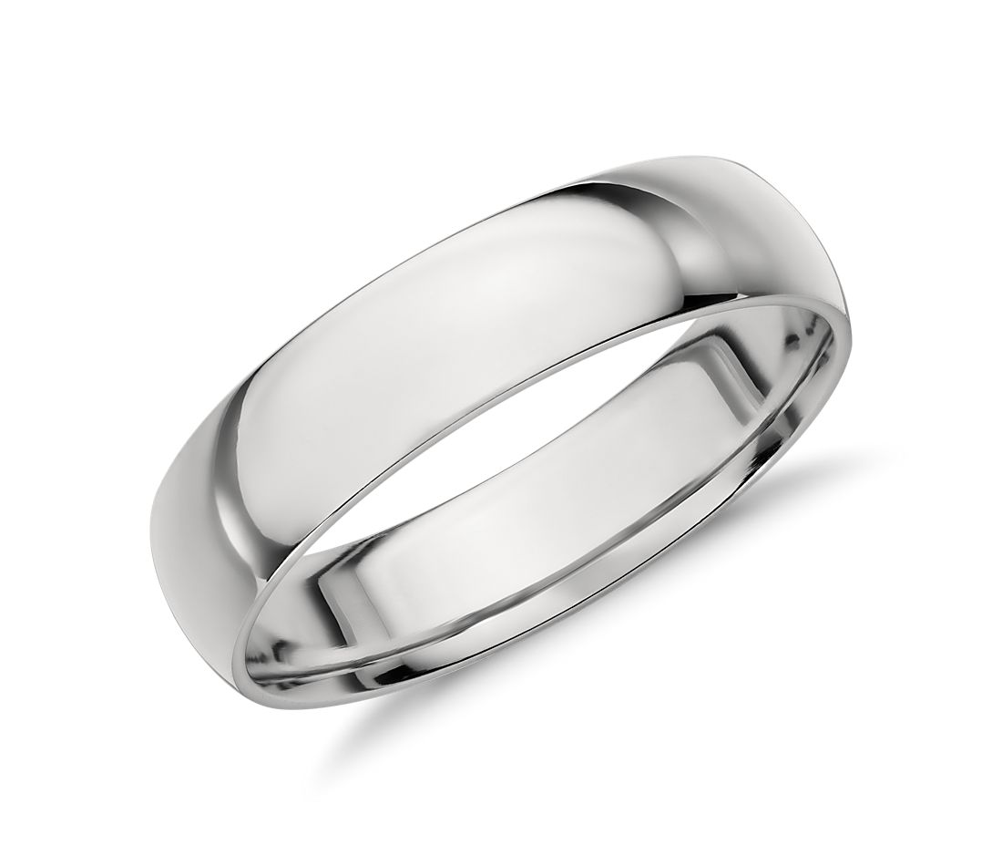 mid weight comfort fit wedding band in platinum 6mm