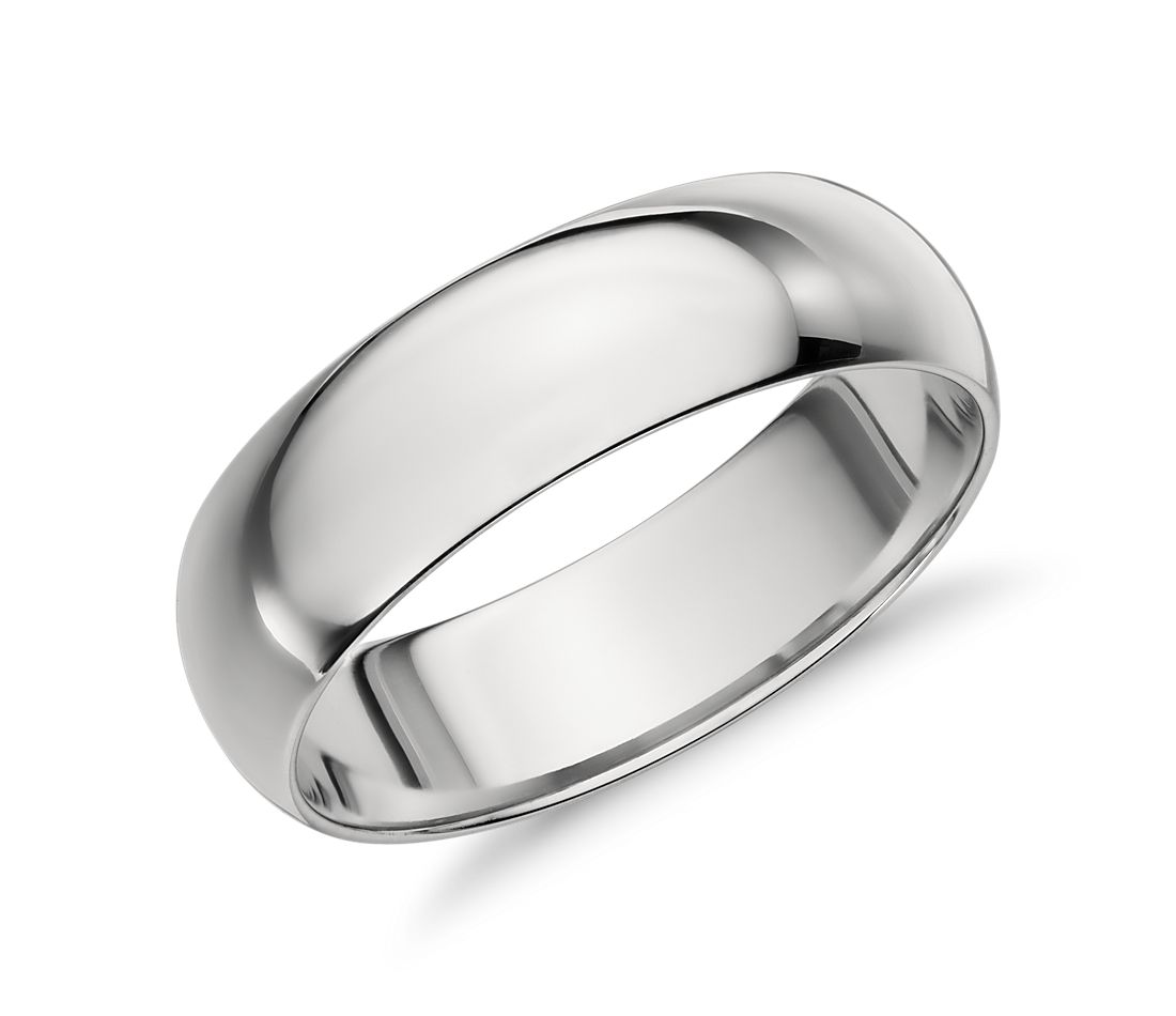 mid weight comfort fit wedding band in platinum 6mm - Mens Platinum Wedding Ring