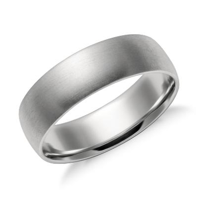 Matte Midweight Comfort Fit Wedding Band in Platinum 6mm Blue