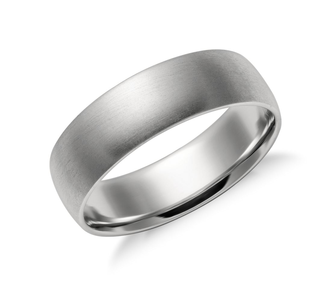 matte mid weight comfort fit wedding band in platinum 6mm - Mens White Gold Wedding Rings