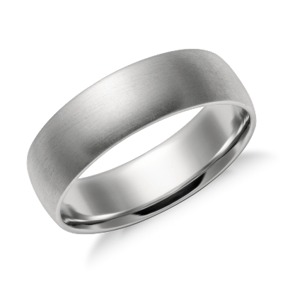 Matte Mid weight Comfort Fit Wedding Band in Platinum 6mm Blue