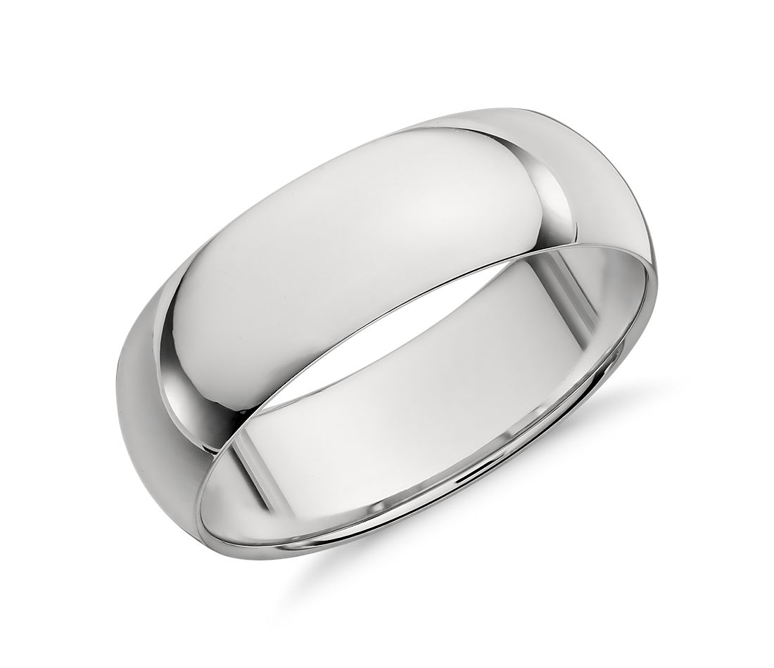 mid weight comfort fit wedding band in platinum 7mm - Mens Wedding Rings Platinum
