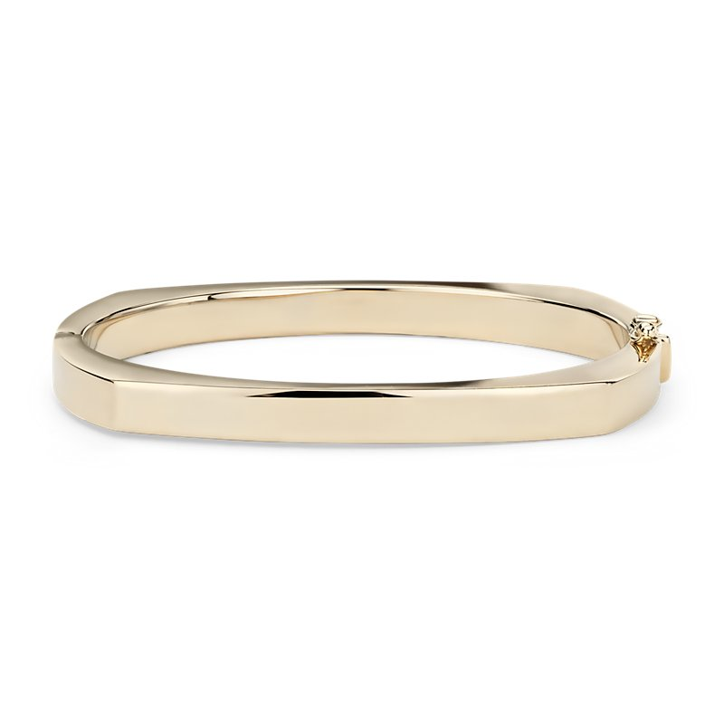 High Polish Angular Bangle in 14k Italian Yellow Gold