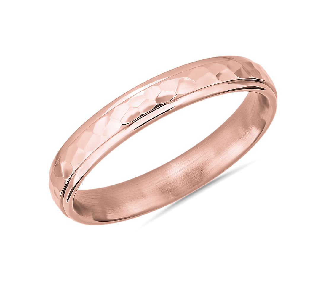 High Polish Hammered Wedding Ring 14k Rose Gold (4mm)