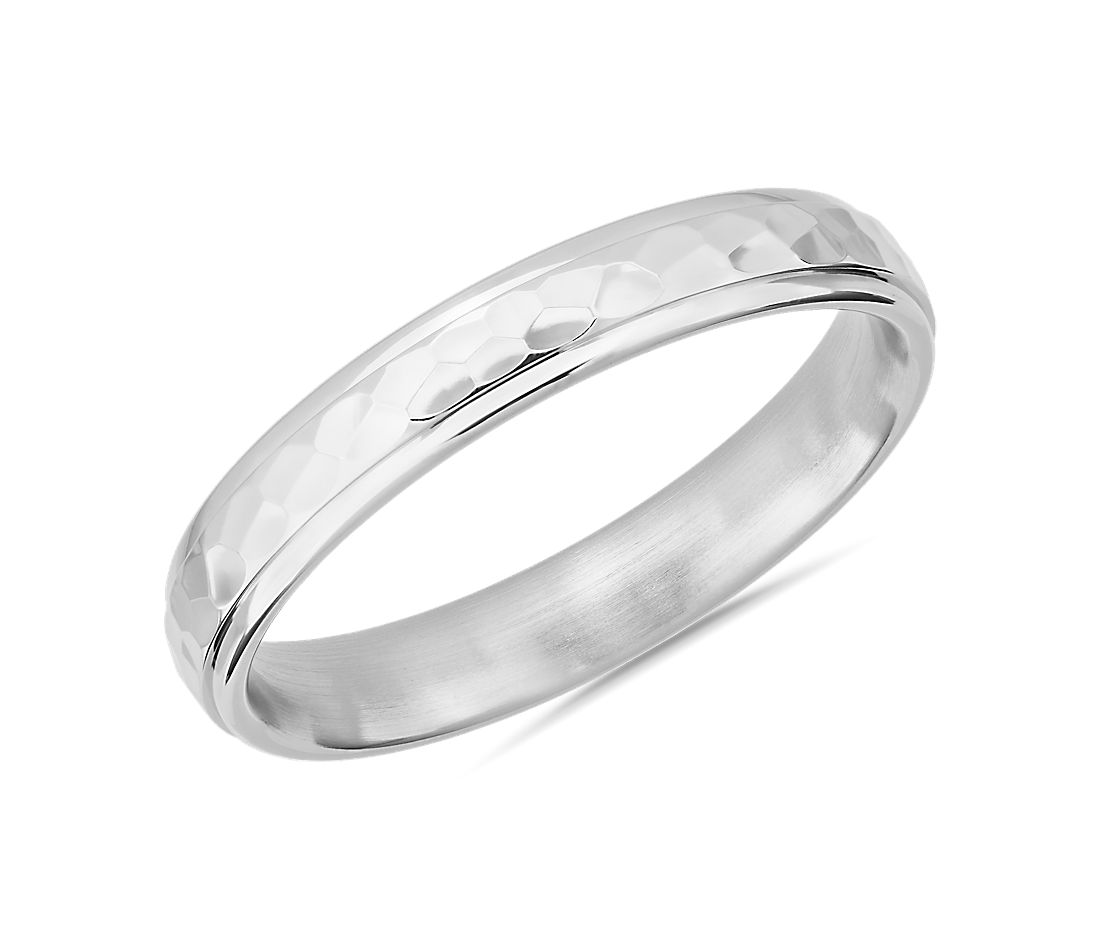 High Polish Hammered Wedding Ring in 14k White Gold (4mm)