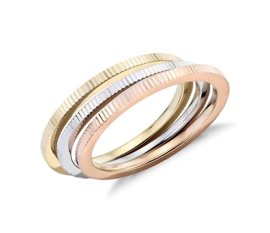High Polish Vertical Texture Stacking Rings in 14k White, Yellow, and Rose Gold