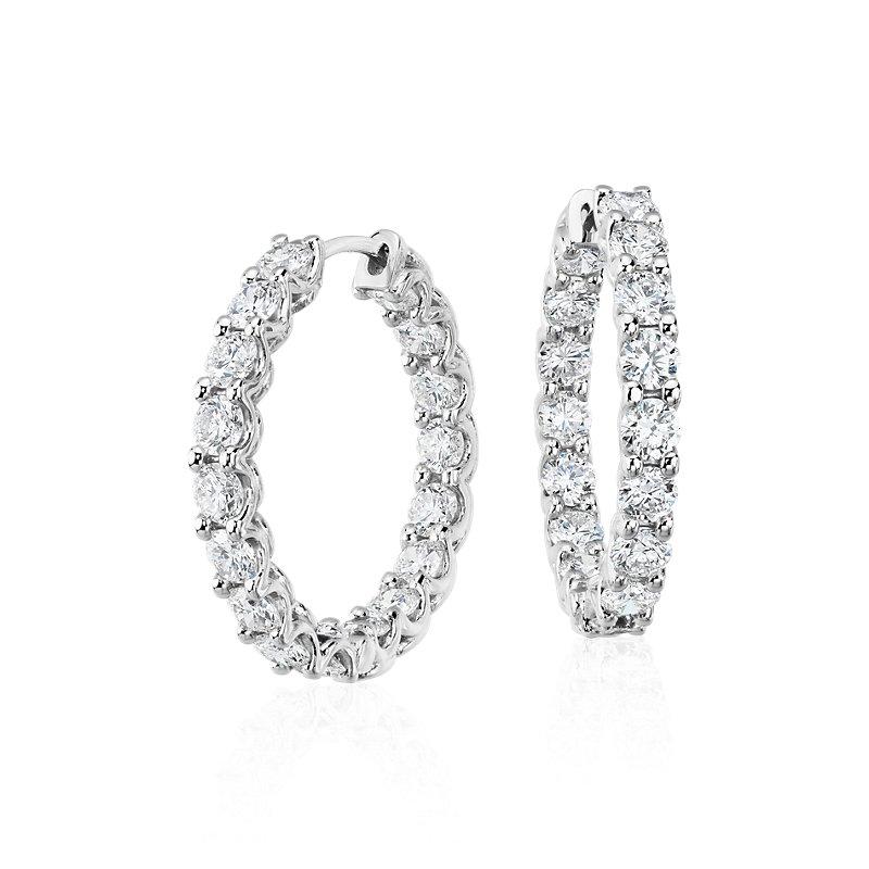 Diamond Eternity Hoop Earrings in 14k White Gold (3 1/2 ct. tw.)