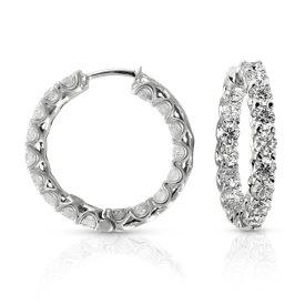 Aretes tipo argolla de eternidad con diamantes en oro blanco de 14 k (4 1/2 qt. total)