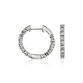 Diamond Eternity Hoop Earrings in 14k White Gold (1 ct. tw.)