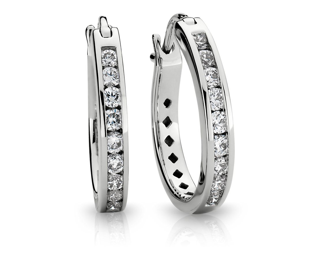 Diamond Channel-Set Hoop Earrings in 18k White Gold (1/2 ct. tw.)