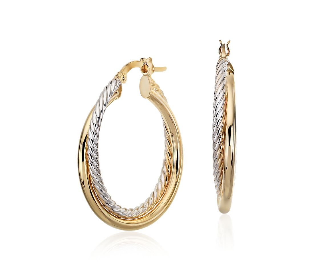 Twisted Hoop Earrings In 14k Yellow And White Gold 1