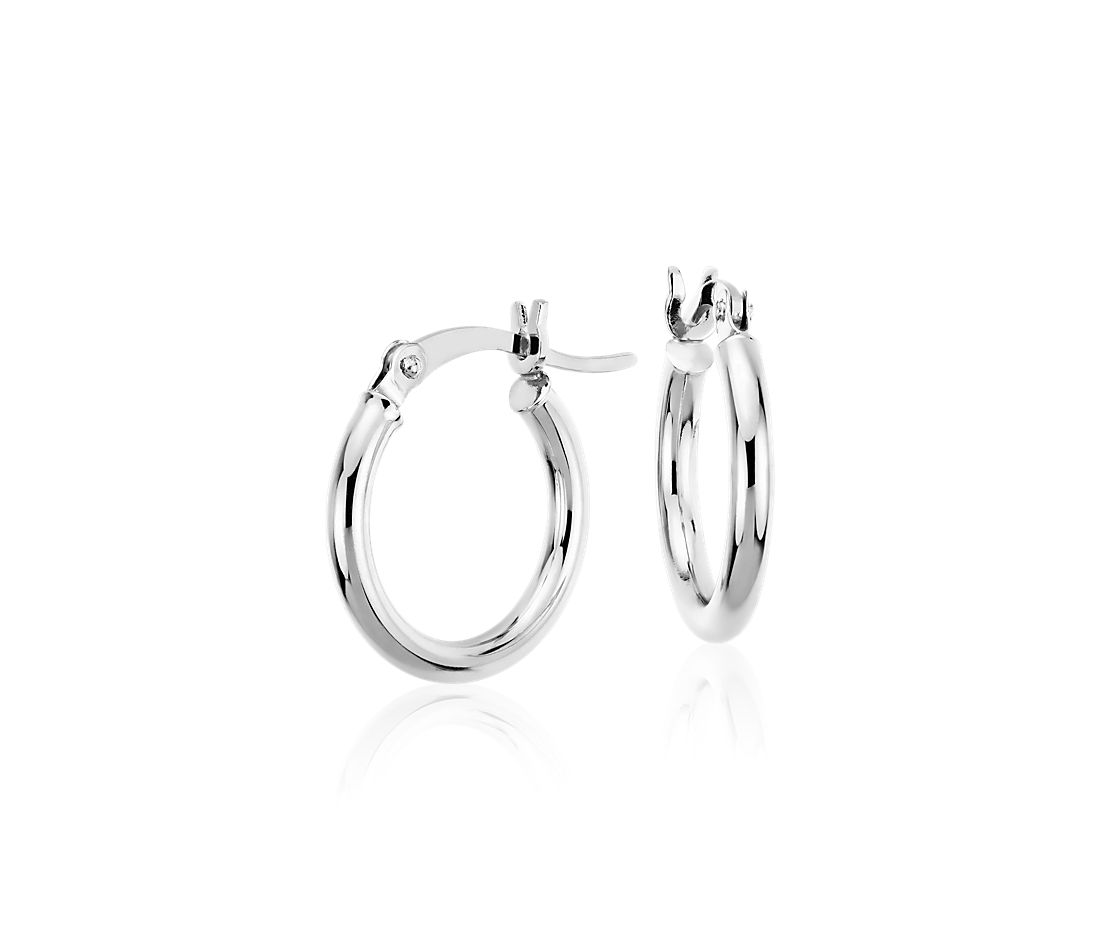 Pee Hoop Earrings In 14k White Gold 5 8