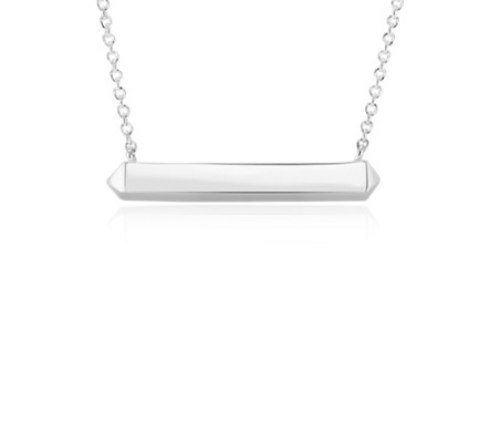 Horizontal Geometric Bar Necklace in Sterling Silver