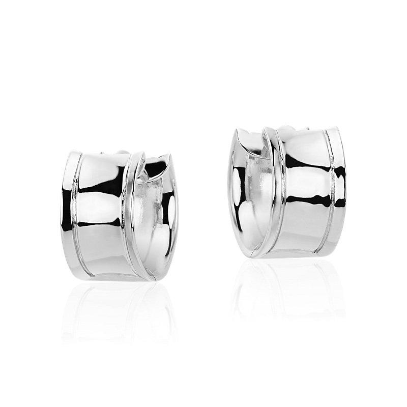 Wide Huggie Hoop Earrings in Sterling Silver