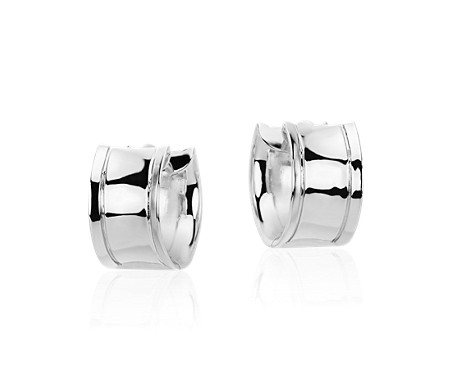 Blue Nile Wide Huggie Hoop Earrings in Sterling Silver