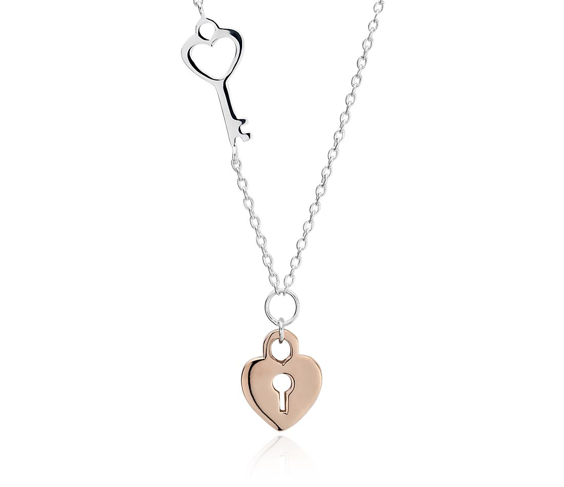 I'm Yours Lock and Key Necklace in Sterling Silver and Rose Gold Vermeil