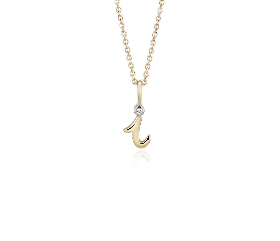 """I"" Mini Initial Pendant with Diamond Detail in 14k Yellow Gold"