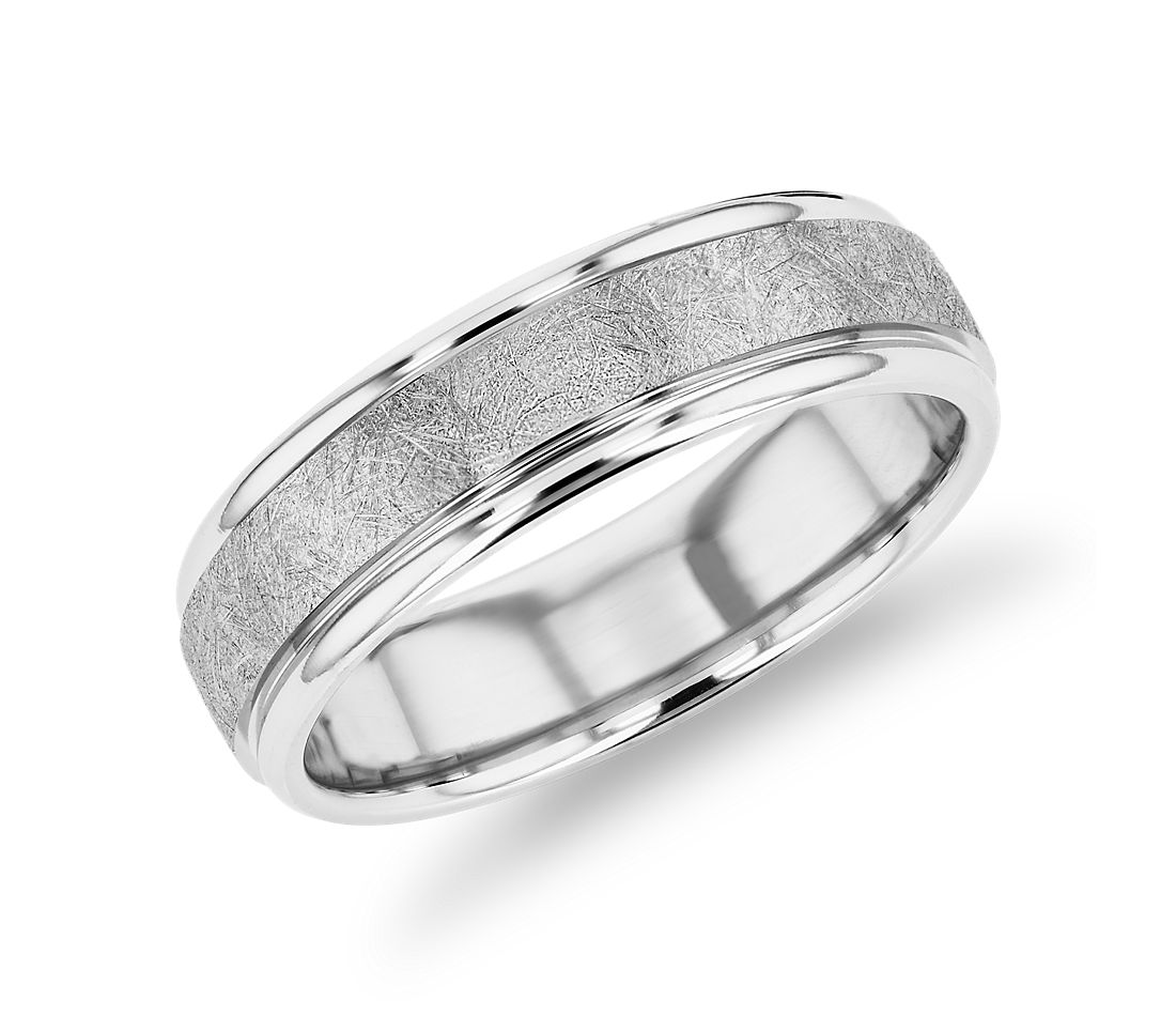 Ice-Textured Inlay Wedding Band in 14k White Gold (6mm)