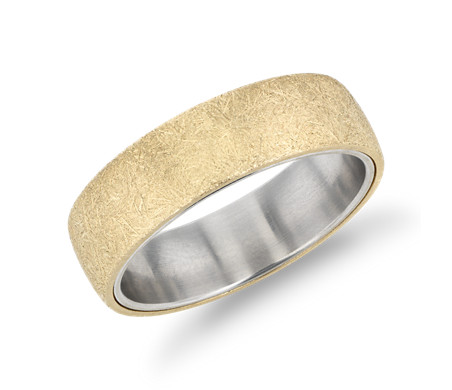 Ice-Textured Wedding Band in 14k Yellow and 14k White Gold (6.5 mm)