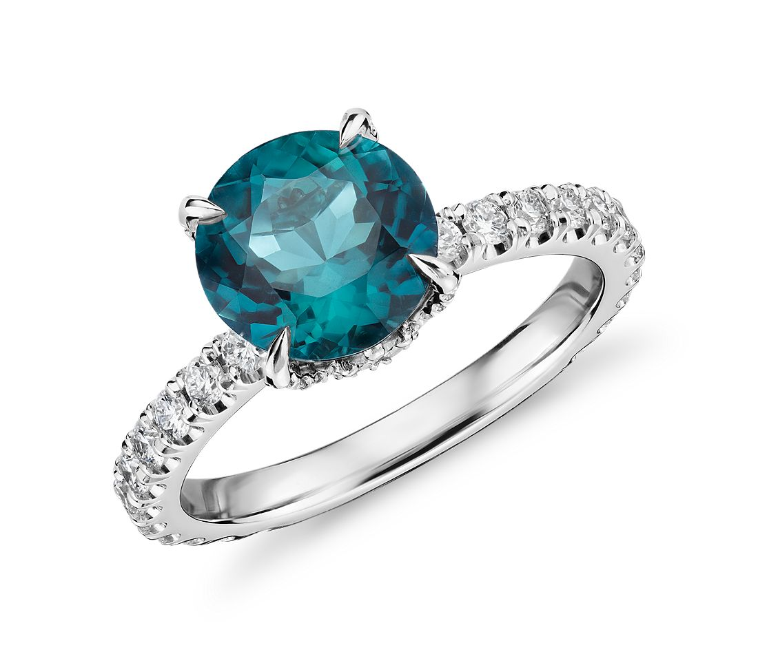 Indicolite and Diamond Crown Ring in 18k White Gold