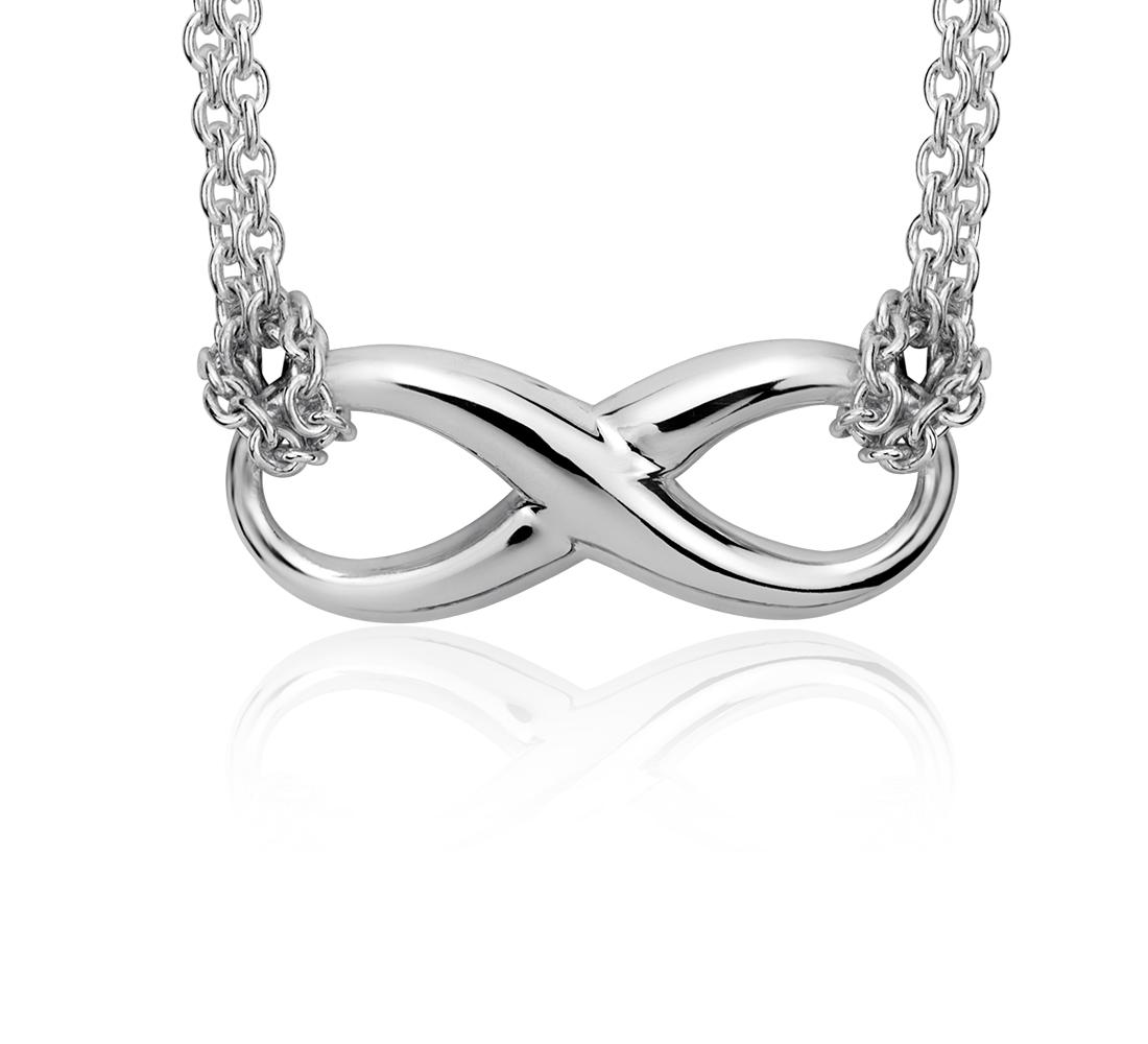 Collar con forma del símbolo del infinito en plata de ley